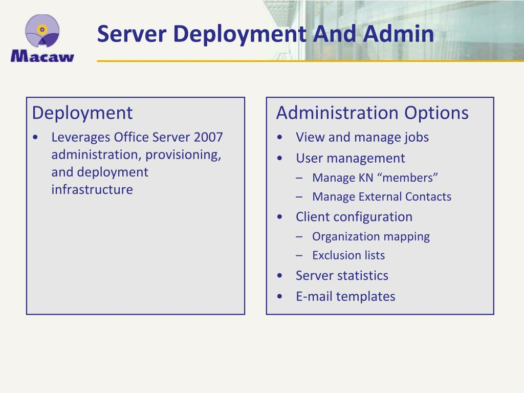 Server Deployment And Admin