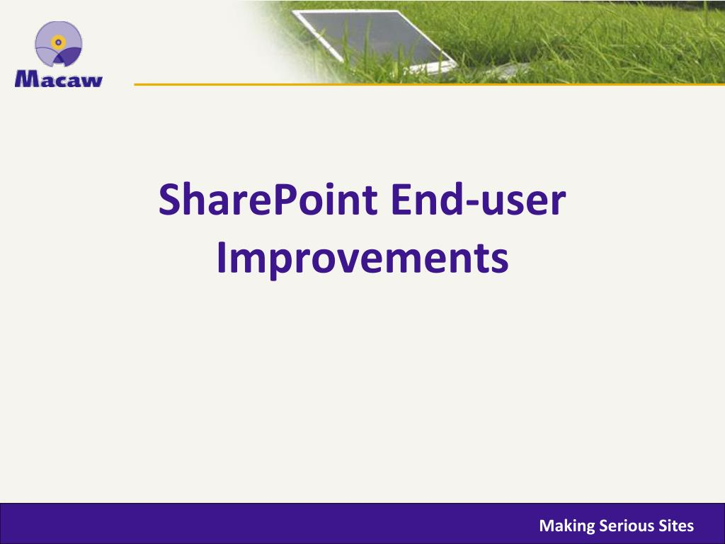 SharePoint End-user Improvements