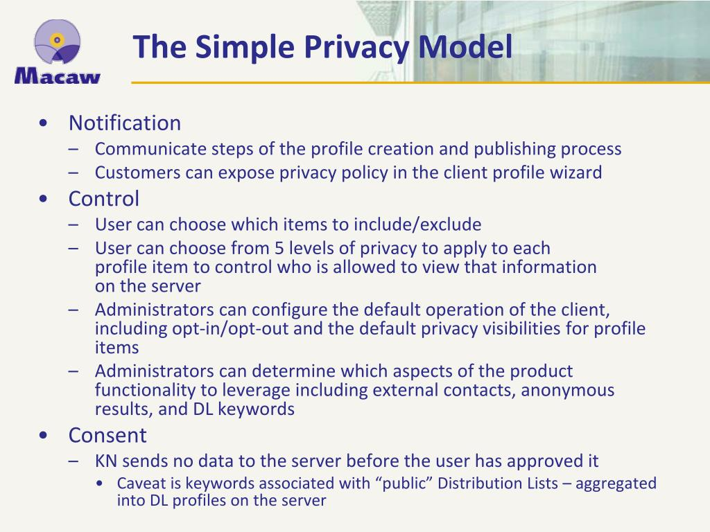 The Simple Privacy Model