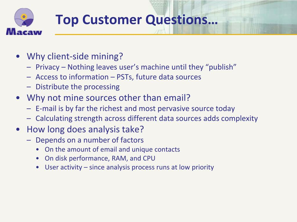Top Customer Questions…