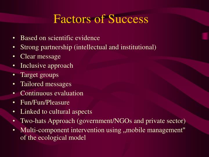 Factors of Success