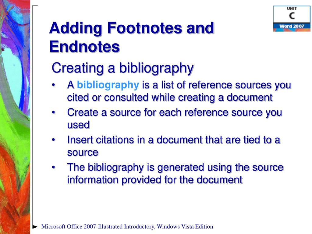 Adding Footnotes and Endnotes