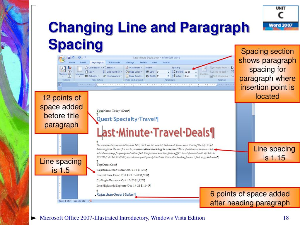 Changing Line and Paragraph Spacing