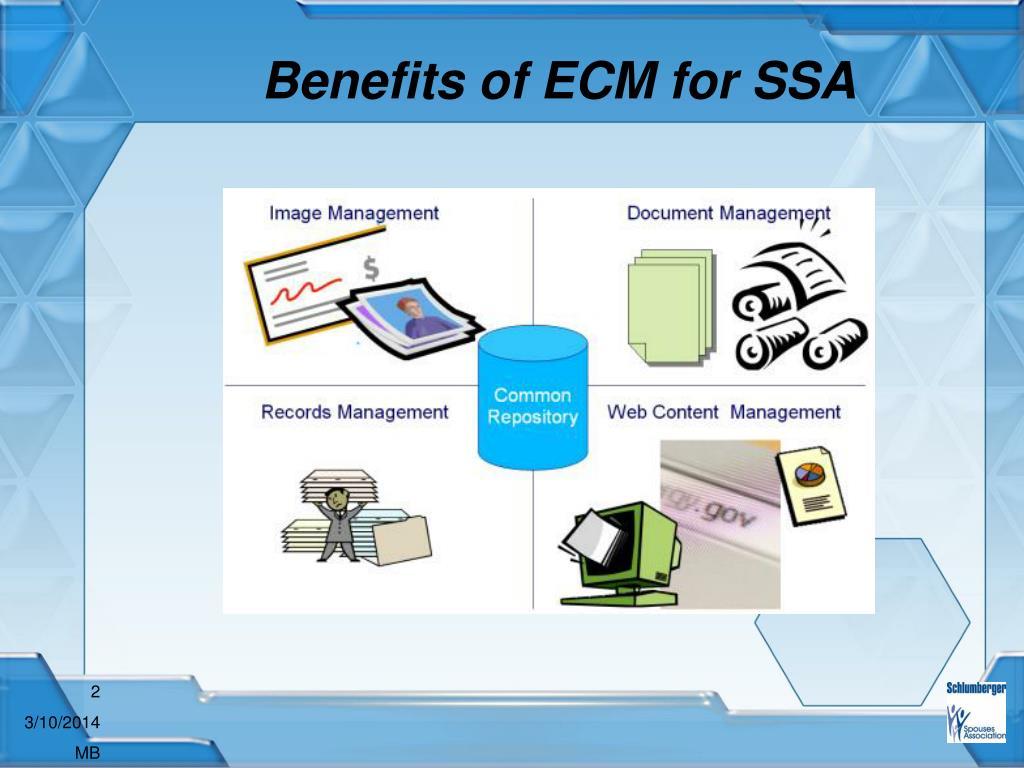 Benefits of ECM for SSA
