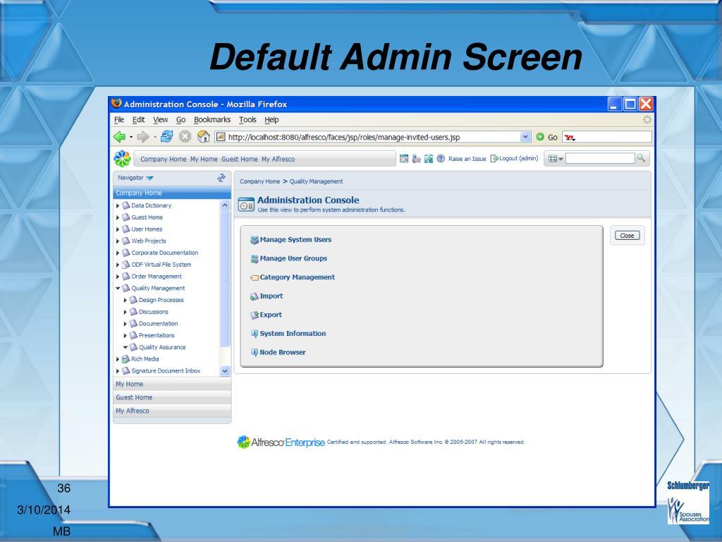 Default Admin Screen