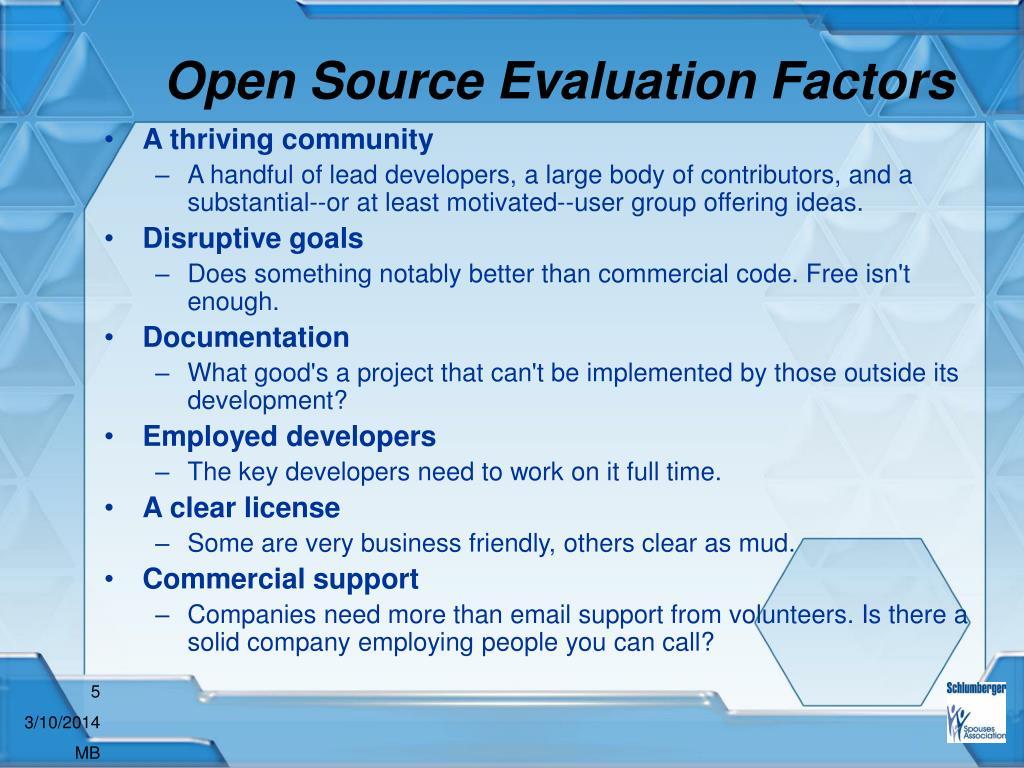Open Source Evaluation Factors
