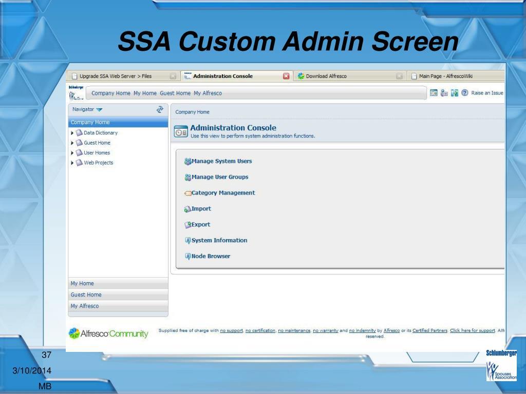 SSA Custom Admin Screen