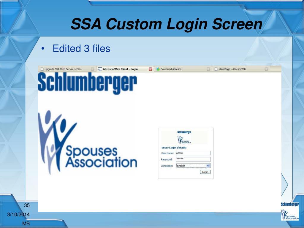 SSA Custom Login Screen