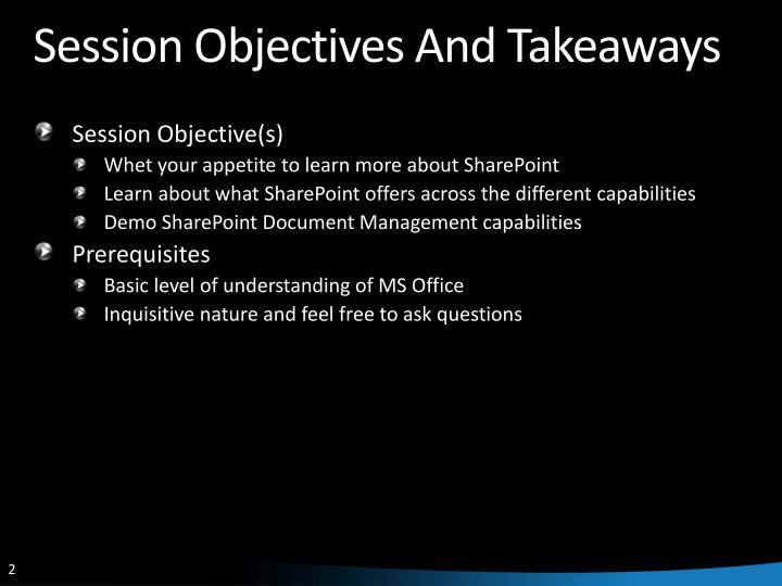Session objectives and takeaways l.jpg