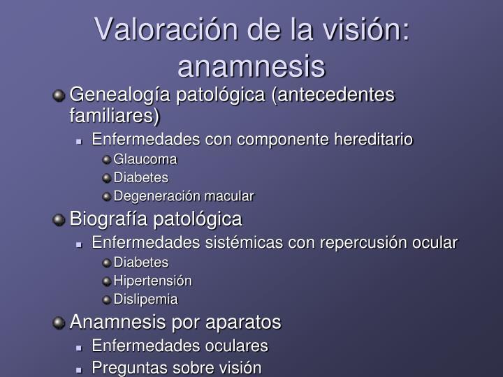 Valoración de la visión: anamnesis