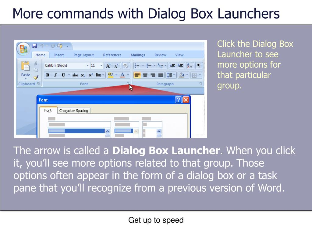 More commands with Dialog Box Launchers