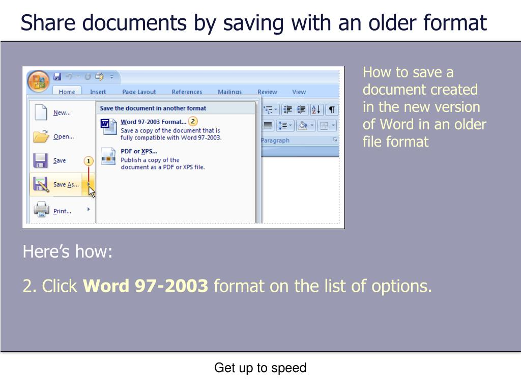 Share documents by saving with an older format
