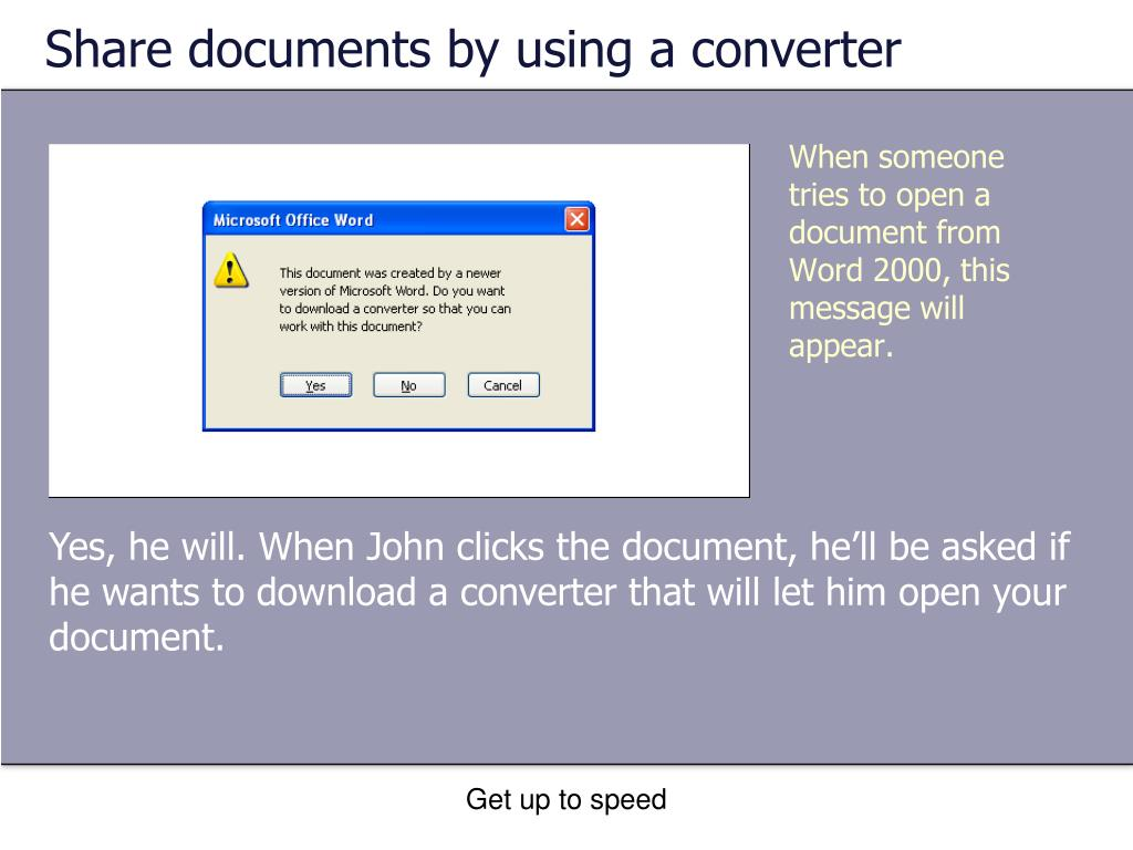Share documents by using a converter