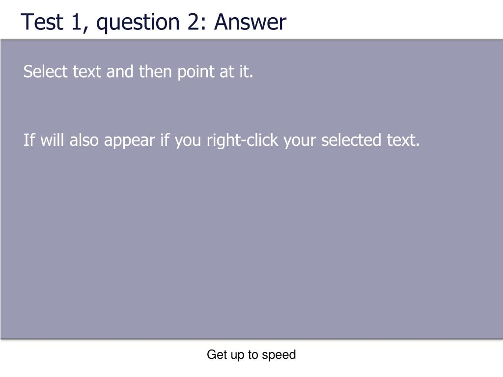 Test 1, question 2: Answer