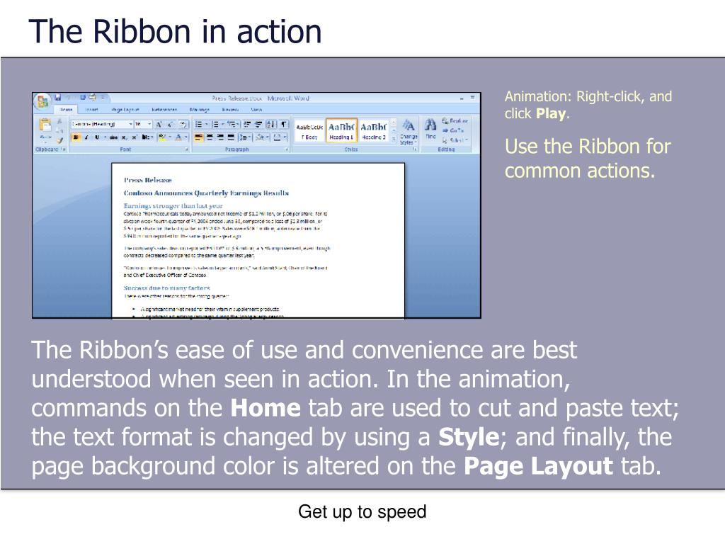 The Ribbon in action