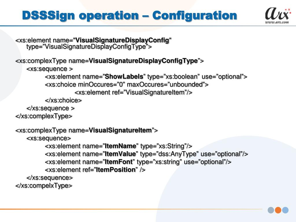 DSSSign operation – Configuration