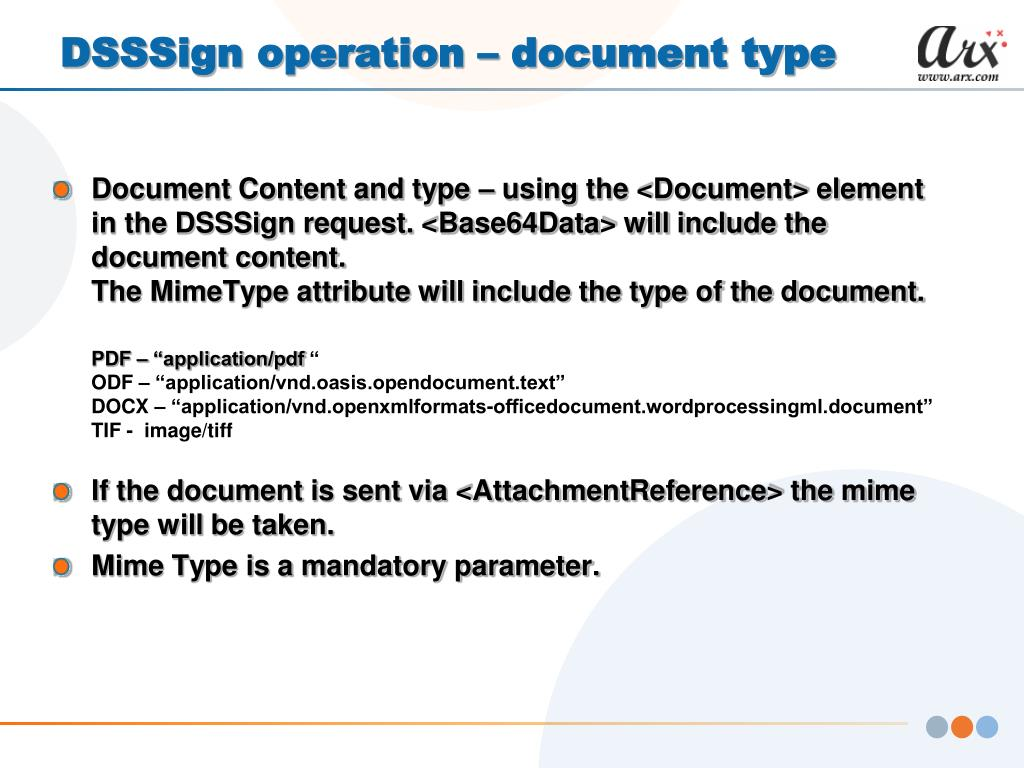 DSSSign operation – document type