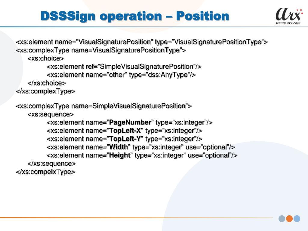DSSSign operation – Position
