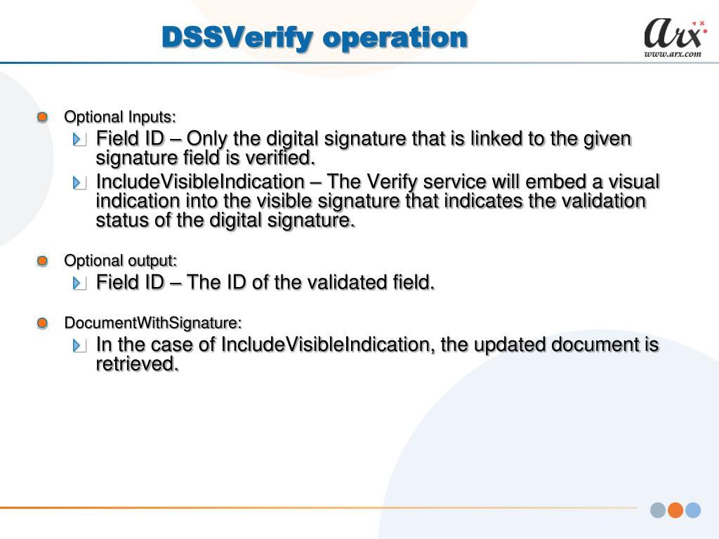 DSSVerify operation