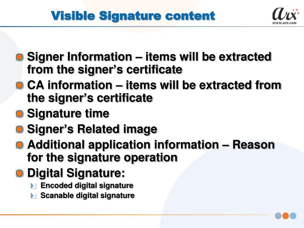 Visible Signature content