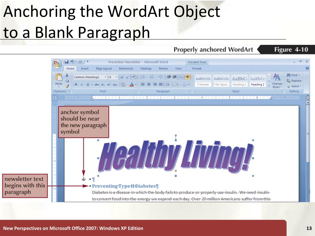 Anchoring the WordArt Object