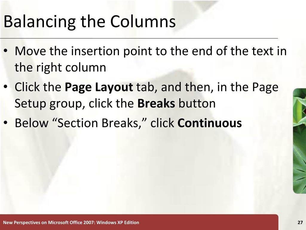 Balancing the Columns