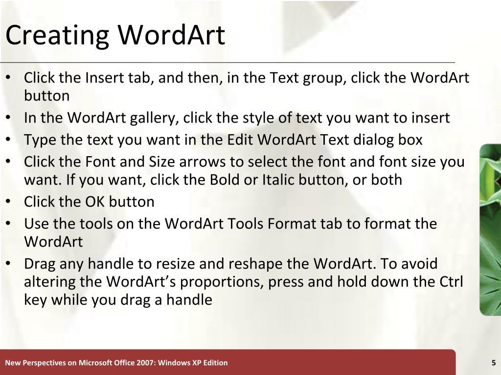 Creating WordArt