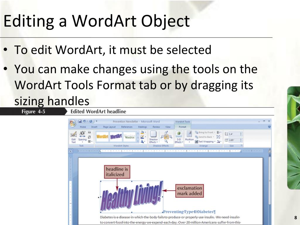 Editing a WordArt Object