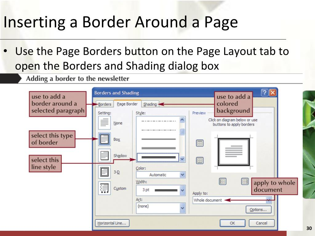 Inserting a Border Around a Page
