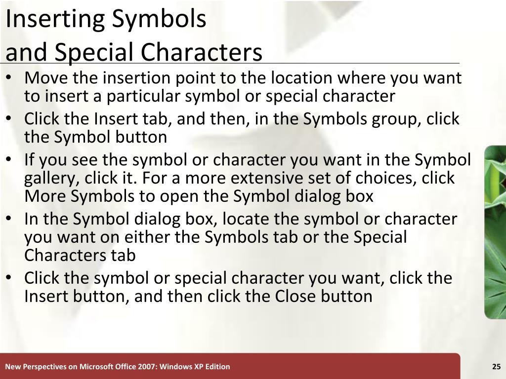 Inserting Symbols