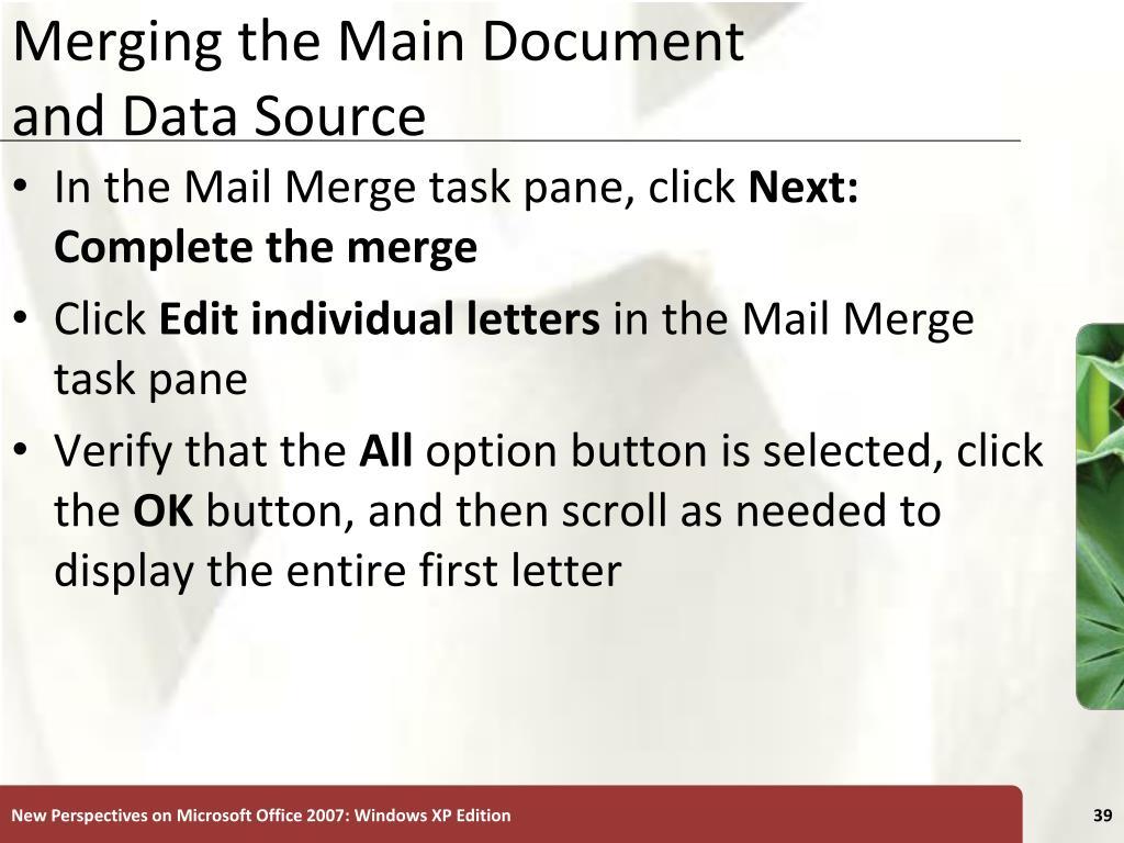 Merging the Main Document