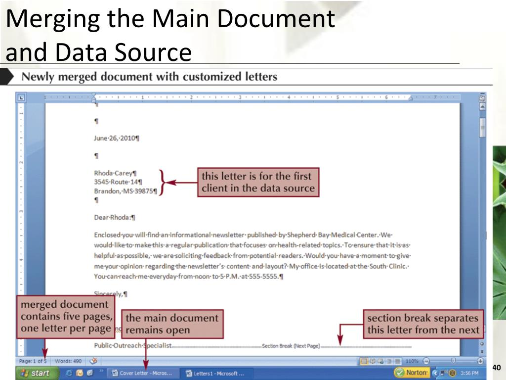 Merging the Main Document