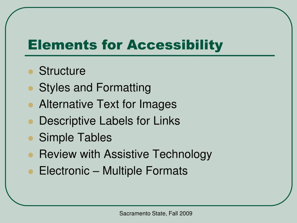 Elements for Accessibility