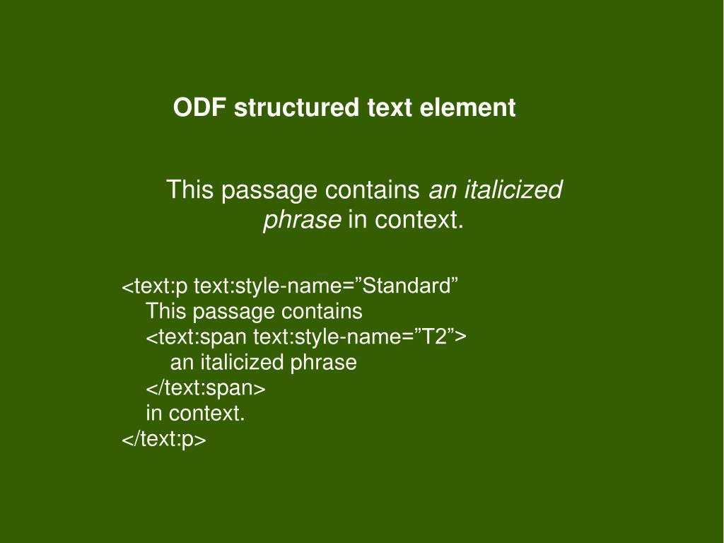 ODF structured text element