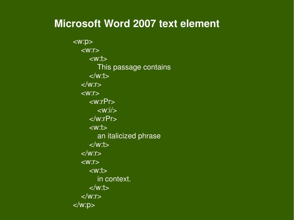 Microsoft Word 2007 text element