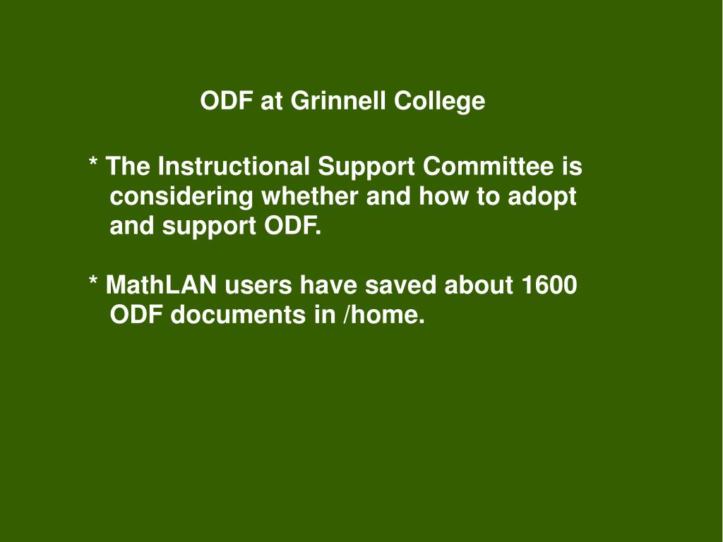 ODF at Grinnell College