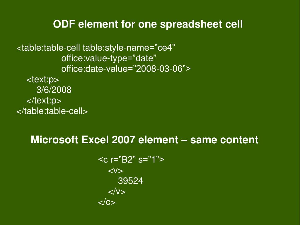 ODF element for one spreadsheet cell