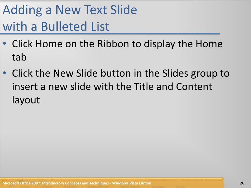 Adding a New Text Slide
