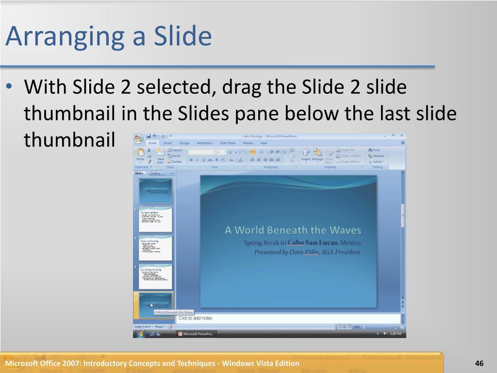 Arranging a Slide