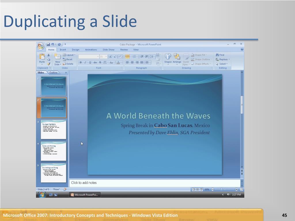 Duplicating a Slide