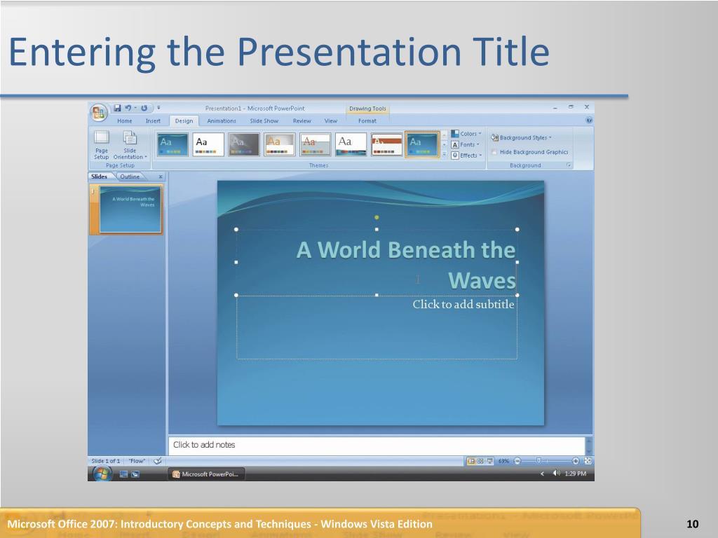 Entering the Presentation Title