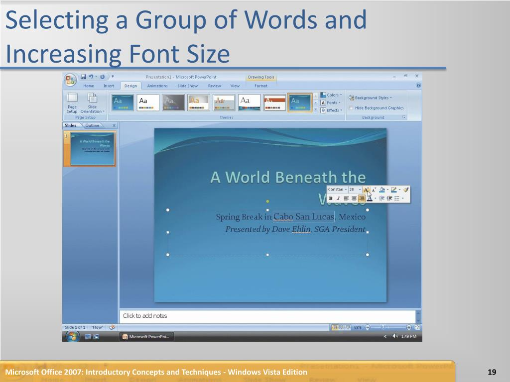 Selecting a Group of Words and Increasing Font Size