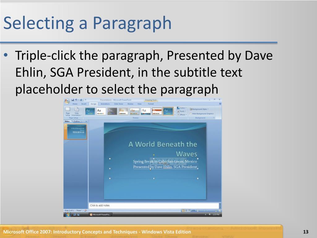 Selecting a Paragraph
