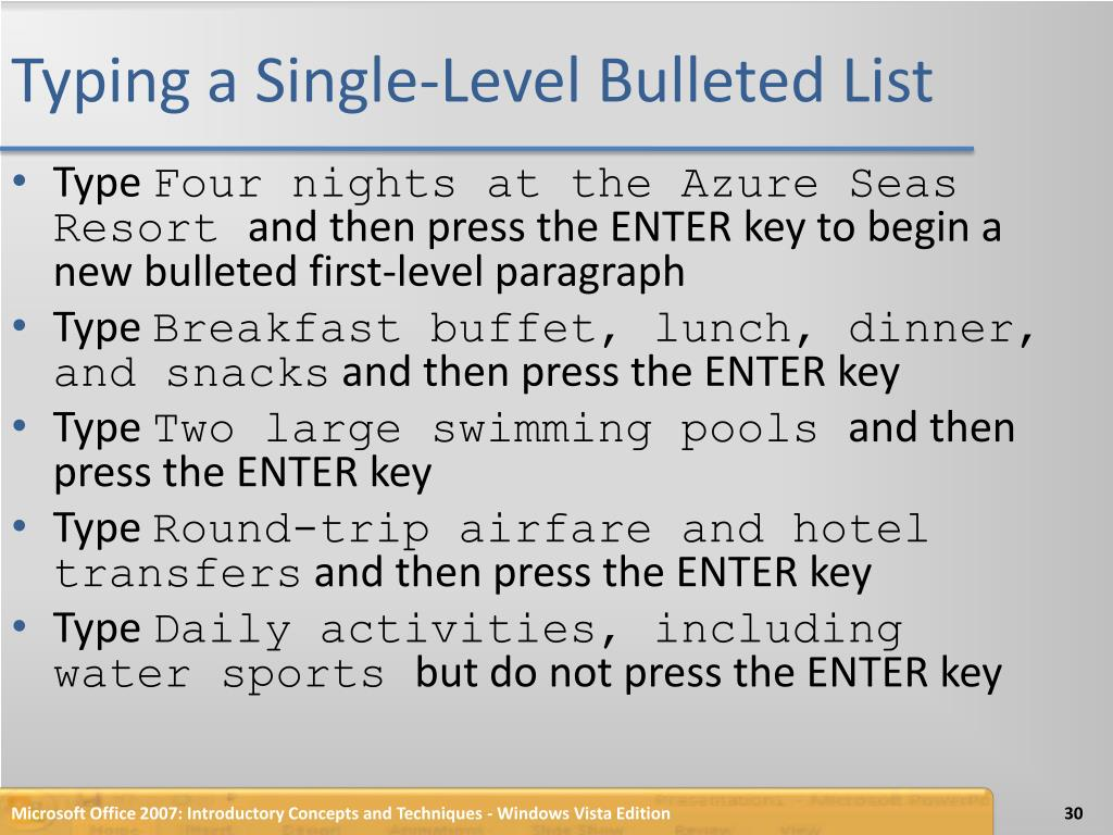 Typing a Single-Level Bulleted List