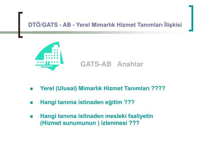 DTÖ/GATS - AB - Yerel Mimarlık Hizmet Tanımları İlişkisi