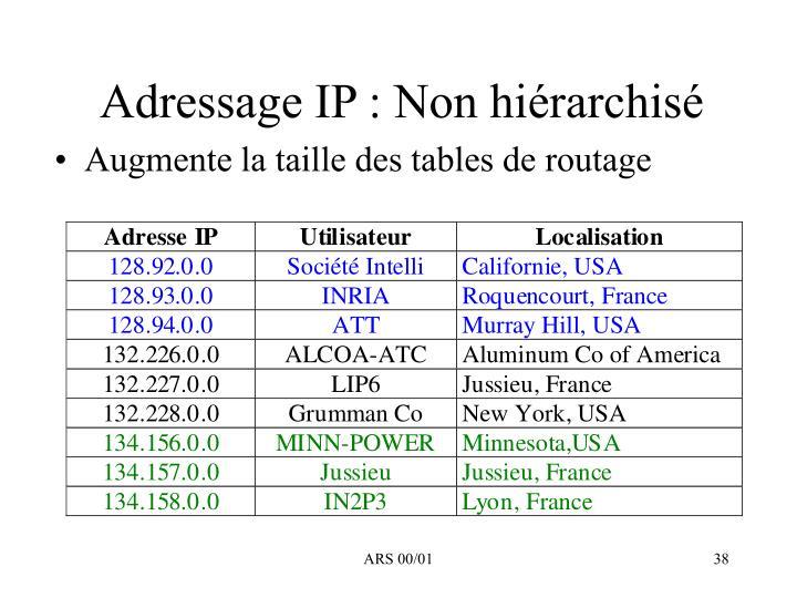Adressage IP : Non hiérarchisé
