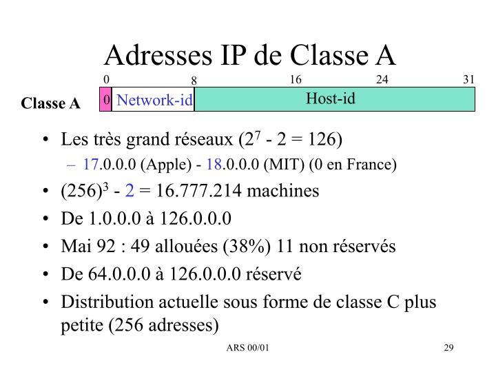 Adresses IP de Classe A