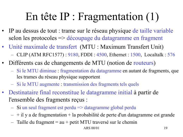 En tête IP : Fragmentation (1)