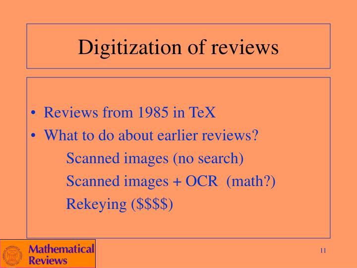 Digitization of reviews