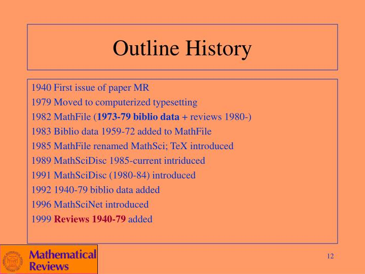 Outline History